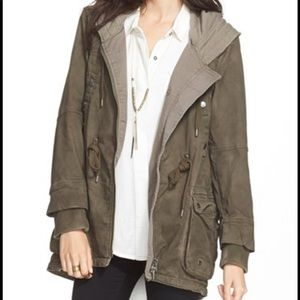 Free People Army Green Hooded Parka Jacket